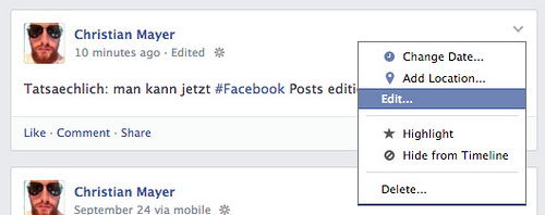 Facebook posts edit